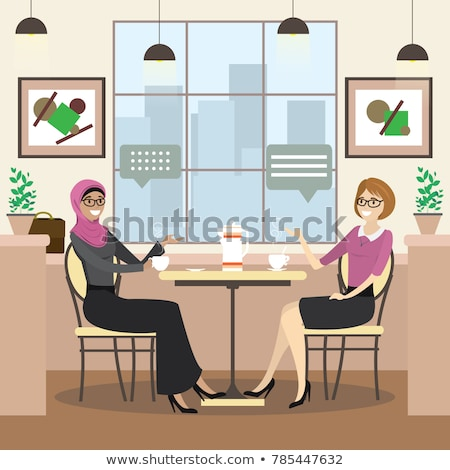 Muslim Woman Drinking From a Cup Illustration Stock photo © artisticco