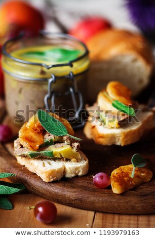 Chicken liver pate with caramelized apples Stock photo © zoryanchik
