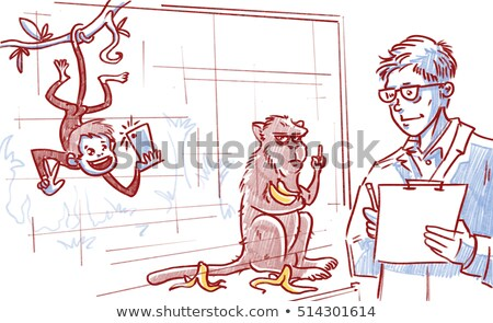 Stock photo: Cartoon Angry Scientist Monkey