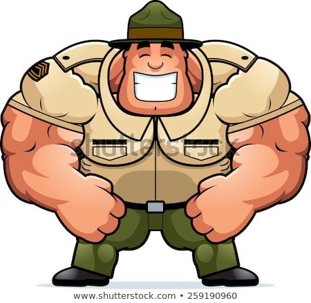 улыбаясь Cartoon дрель сержант иллюстрация мышечный Сток-фото © cthoman