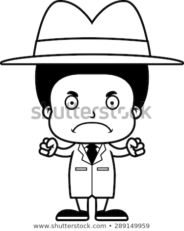 Cartoon Angry Detective Boy Stock photo © cthoman