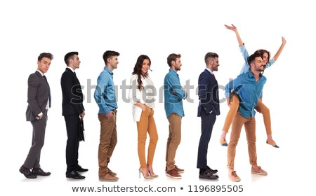 group of people waiting in line and joyful casual couple stock photo © feedough