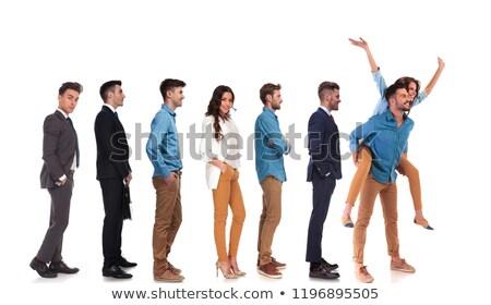 Foto stock: Pessoas · do · grupo · espera · linha · alegre · casual · casal