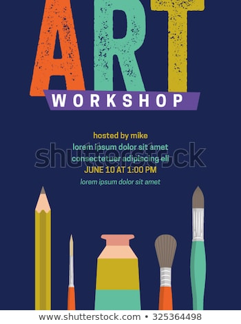 flat art painter workshop with paint supplies equipment tools  banners. Vector illustration design  Stock photo © Linetale