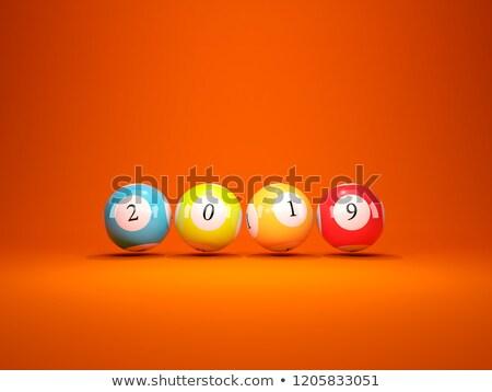 új év felirat lottó golyók narancs 3d illusztráció Stock fotó © MikhailMishchenko