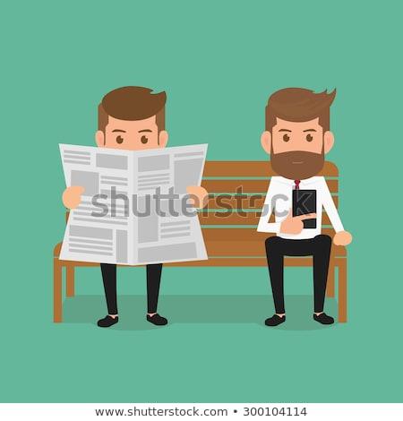 Emberek olvas újságok kicsi méret ül Stock fotó © robuart