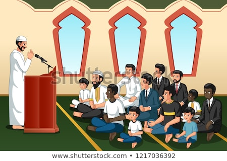 Muslim Imam Giving Speech in Mosque Illustration Stock photo © artisticco