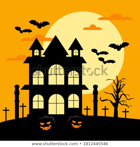 Halloween Party flyer vector illustration with black coffin and flying bats on orange moon backgroun Stock photo © articular