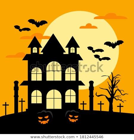 halloween · halloween · tök · fű · denevér · fa · hold - stock fotó © articular