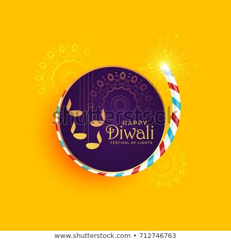 diwali festival design with cracker and diya stock photo © sarts