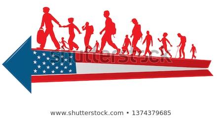Immigratie mensen silhouet bewegende USA vlag Stockfoto © doomko