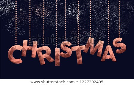 Merry Christmas low poly copper sign greeting card Stock photo © cienpies