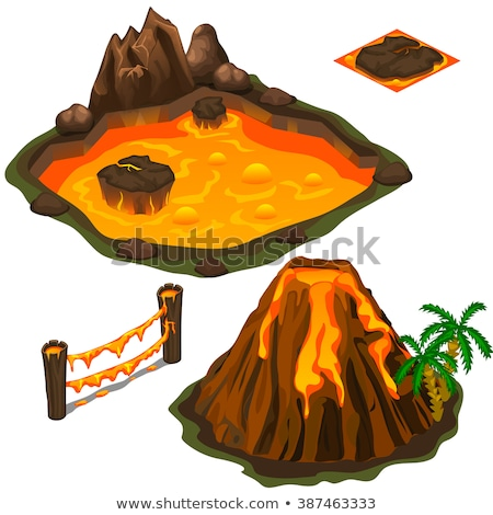 The eruption of a volcano isolated on white background. Vector cartoon close-up illustration. Stock photo © Lady-Luck
