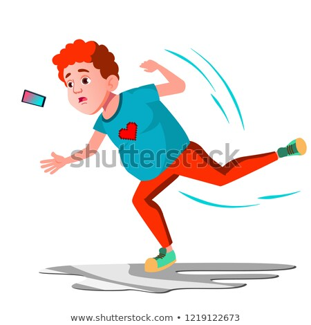 teenager falls into the mud vector isolated illustration stock photo © pikepicture