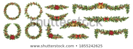 Foto stock: Vetor · natal · decoração · grinalda · isolado