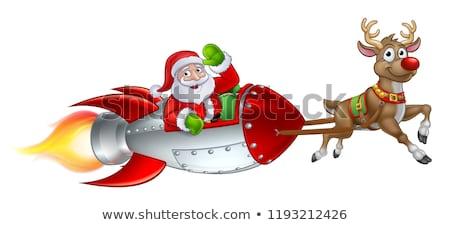 foguete · trenó · natal · desenho · animado · papai · noel - foto stock © krisdog