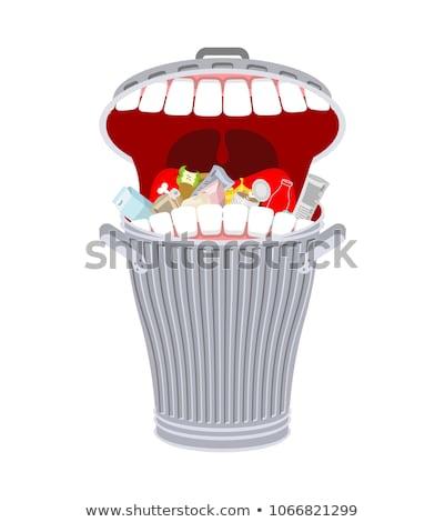 Caixote do lixo dentes cesto de lixo faminto lixo comida Foto stock © MaryValery