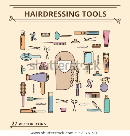 женщину большой длинные волосы парикмахер логотип вектора Сток-фото © blaskorizov