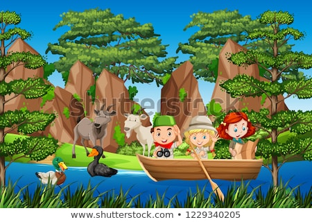 Boy and gril scout on the wooden boat Stock photo © bluering