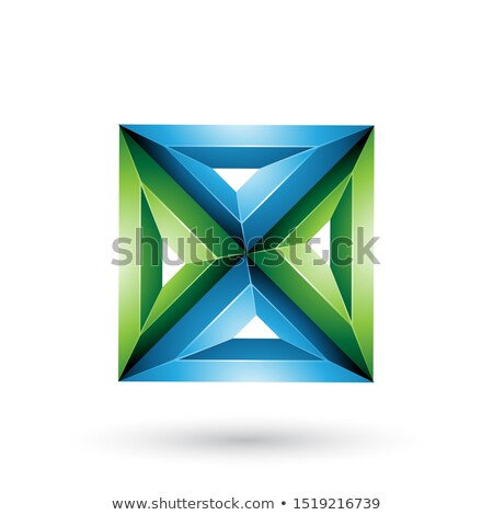 Blue and Green 3d Geometrical Embossed Square and Triangle Shape Stock photo © cidepix