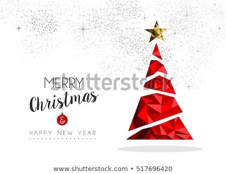 Noel çam ağacı kırmızı süsler kart neşeli Stok fotoğraf © cienpies