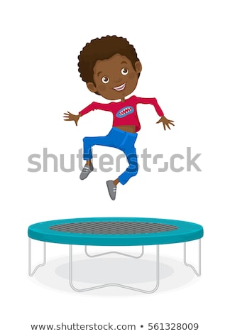 Boy jumping on red trampoline stock photo © colematt