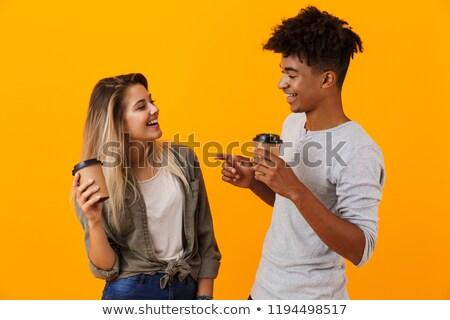 feliz · jovem · africano · casal · potável · café - foto stock © deandrobot