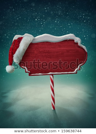christmas sign santa hat winter snow scene stock photo © krisdog