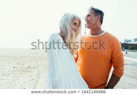 Foto stock: 60 · anos · homem · praia · bom · tempo · água