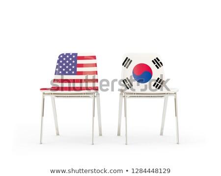 Iki sandalye bayraklar Güney Kore yalıtılmış beyaz Stok fotoğraf © MikhailMishchenko