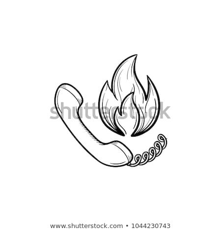 Teléfono fuego dibujado a mano boceto icono Foto stock © RAStudio