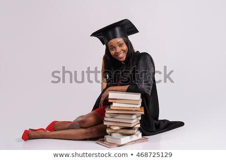 Afrikaanse afgestudeerde student boeken diploma onderwijs Stockfoto © dolgachov