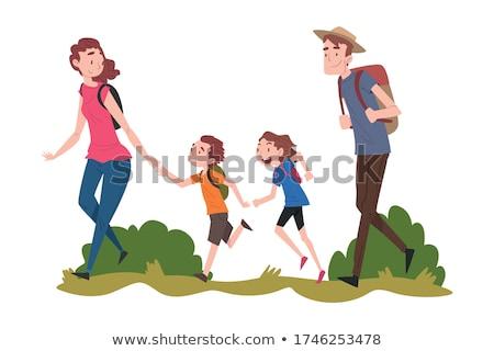 Familie lopen samen park hond tijd Stockfoto © solarseven