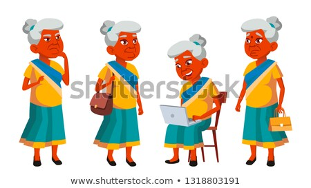 Indian Old Woman Poses Set Vector. Elderly People. Senior Person. Aged. Friendly Grandparent. Banner Stock photo © pikepicture