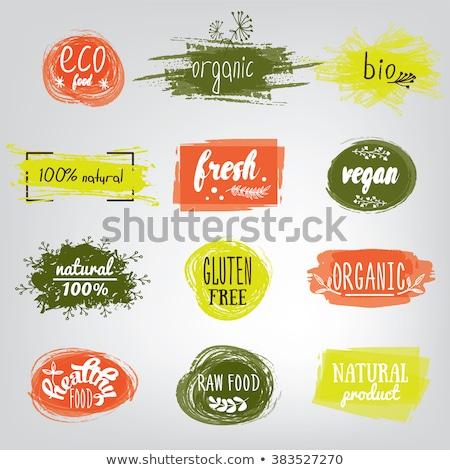 Bio texto etiqueta hojas verdes salud símbolo Foto stock © orensila