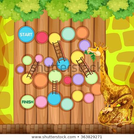 Wilde dieren spel sjabloon illustratie hemel achtergrond Stockfoto © colematt