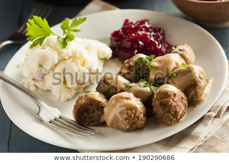 Swedish meatballs with mashed potato Stock photo © furmanphoto