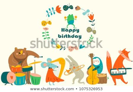 Cute vector be happy card with wild animals stock photo © Giraffarte