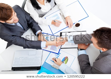 üzletemberek tárgyalás megállapodás megbeszél iroda nők Stock fotó © Kzenon