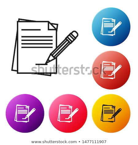 page of notebook and pencil in circle vector icons stock photo © robuart