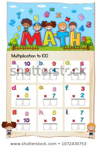 Math worksheet for multiplication to hundred Stock photo © colematt
