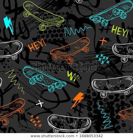 Ninos skateboard ilustración nino jugando hierba Foto stock © colematt