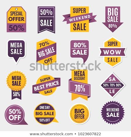 Info Umsatz Super Emblem Werbung Etiketten Stock foto © robuart