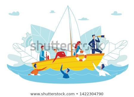 Man Floating on Water Lifeline Vector Illustration Сток-фото © robuart