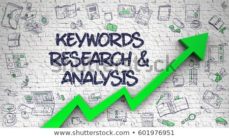 Keyword Research Drawn on White Brickwall. 3d. Foto stock © tashatuvango
