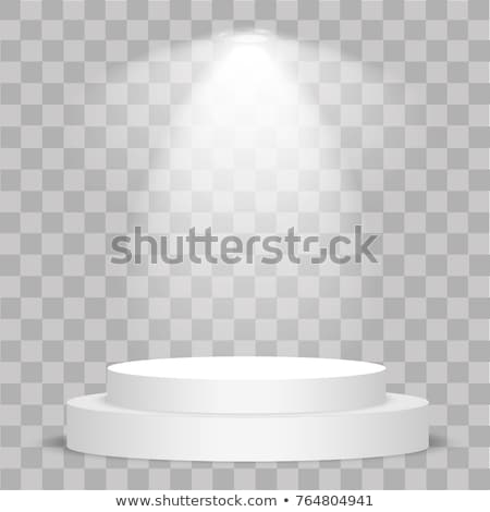 Round stage podium with light. Stage vector backdrop. Festive podium scene with red carpet for award stock photo © olehsvetiukha