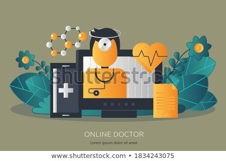 Flat design medical and pharmacy. On line treatment and on line doctor. Doctor on call banner. Moder Stock photo © makyzz