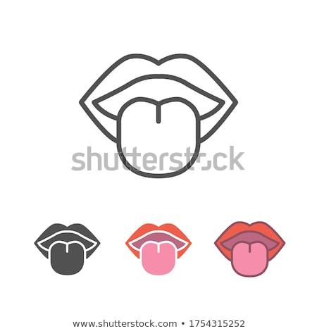Body senses taste. Tongue icon on a white background Stock photo © Imaagio