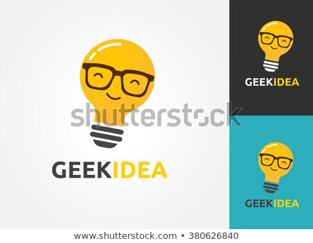 Light bulb with geek glasses - idea, creative, technology icons Stock photo © marish