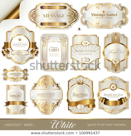 Gold Bänder Etiketten Packung Geburtstag Zeichen Stock foto © SArts